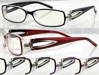 L285 Ladies Memory Plastic TR90 Optical Reading Glasses/Diamante & Metal Details