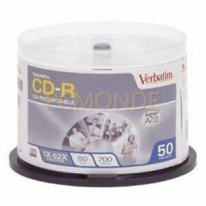 50x Verbatim 700MB 52x 80min DataLife+ Crystal Thermal Printable Recordable CD-R