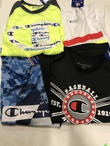 Lot Of 4 Champion Boys Short Sleeve Shirts Size 10/12 Brand New