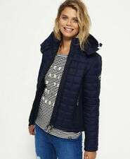 New Womens Superdry Hooded Box Quilt Fuji Jacket Sport Code Navy
