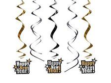Girlanden Hängedeko Swirl-Deko Happy New Year, ca. 60 cm, 5 St., Silvester