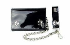 """Black PVC Bikers Leather Chain Wallet Tri Fold Punk Goth Skater Sprots 12"""" Chain"""