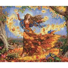 """Dimensions Gold Collection Counted Cross Stitch Kit Fall Fairy 14""""X12"""" NEW 16 CT"""