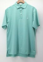 Peter Millar Summer Comfort Men's Medium Polo shirt s/s Green White with emblem
