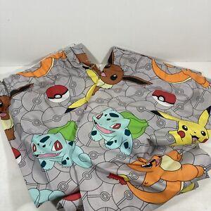 Official Pokemon Curtains Nintendo Pikachu CharizardBulbasaur Grey Drop 132cm