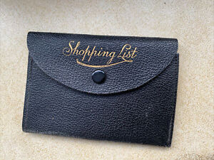 Vintage Textured Faux Leather Shopping List Notebook In Wallet Case Pencil Cute