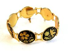 Flowers Link Bracelet Vintage Damascene Birds