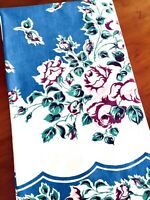 "Vintage Barkcloth Tablecloth Blue w/Pink & Maroon Roses 49""x45"""