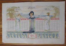 ART NOUVEAU affiche calendrier année 1904 décor de femmes supplément Femina