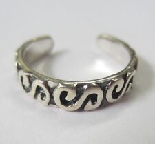 Sterling Silver Adjustable Toe Ring S Design Solid 925 Oxidized Jewelry