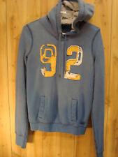 ABERCROBIE & FINCH Blue Fleece Distressed Fade Hooded Jacket HOODIE SIZE Medium