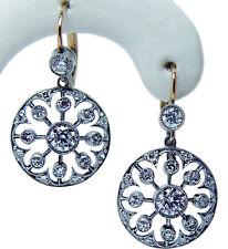 Art Deco European Diamond Dangling Earrings Platinum 18K Gold Estate Jewelry