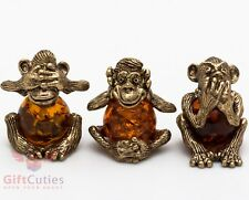 Solid Brass Amber Figurine 3 Three wise monkeys see hear speak no evil IronWork