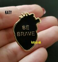 Be Brave Heart Badge Gold Vintage Style Black Enamel Brooch Broach Pin Lapel UK