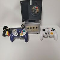 Nintendo Gamecube Platinum Silver with 2 Controllers & 1 Game - Tested Working