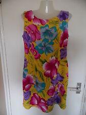 "Floral tall short/mini sleeveless xx yellow  wide strap sundress 29"" Rayon sizeM"
