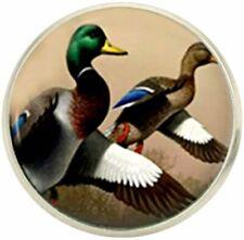Bassin and Brown Mens Mallard Ducks Lapel Pin - Brown/White