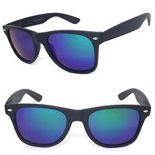 Polarized Retro Square Frame Sunglasses 52mm Matte Black Blue Green Mirror Lens