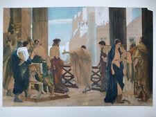 Ecce Homo jesús Pilatos tras Antonio Ciseri acuarela dibujo firmado para 1900