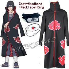 Anime Naruto Akatsuki Itachi Uchiha Deluxe Cosplay Cloak Headband Necklace Ring