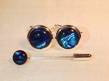 Blue Abalone 16mm round Cufflinks with Cravat/Tie Pin, Silver plated.