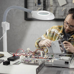5X Magnifying Lamp LED Magnifier Light Glass Lens Floor Rolling Stand Gooseneck
