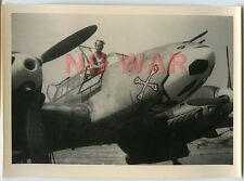 WWII ORIGINAL GERMAN PHOTO LUFTWAFFE AIRPLANE w DIVISION EMBLEM  ON AIRDROME