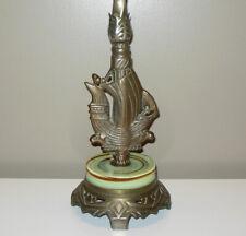 Antique NAUTICAL Sea Sailing BOAT SHIP  Cast Iron Metal Table LAMP Green Slag