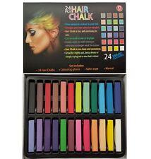 24 Colour Hair Chalk Kit Temporary Hair Dye Colour Soft Pastels Salon Non-Toxic