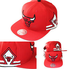 Mitchell & Ness Chicago Bulls Red Snapback Hat Team Jersey Diamond Pattern Cap
