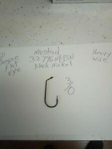100-Mustad 32796NP-BN,  3/0  60 degree flat eye, heavy jig hook