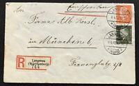 Dt. Reich Einschreiben Einsxhreiben Langenau 6.4.1937 nach München