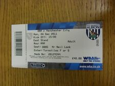 26/12/2011 Ticket: West Bromwich Albion v Manchester City  (folded). Thanks for