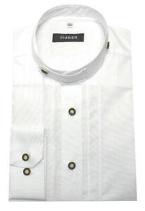 HUBER Trachten Hemd Stehkragen weiß Oxford mit Plissee Regular Fit HU-0705