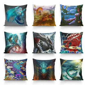 Dragon Pattern Pillow Cover Hand Painting Pillow Double (Only Cover) 40cm-45cm