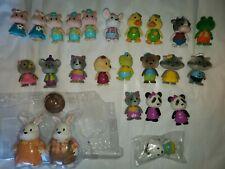 LOT 24 Lil Woodzeez toys bobbleheads Rabbits Pigs Koala Panda Racoons Bears +