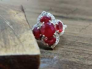925 Silver Ruby Ring Red Ruby Anniversary Ring 4 Ct Ruby Promise Ring For Her