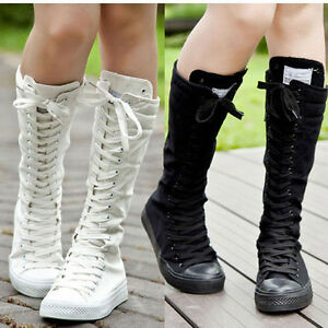 Chic Women Ladies Punk Canvas Boots Zip Lace Up Knee High Sneaker High Top Shoes