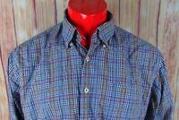 Peter Millar Mens Blue Red Orange Plaid Cotton Long Sleeve Button Up Shirt Sz XL