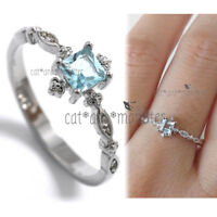 925 STERLING SILVER FILLED Antique Filigree Marquise Aquamarine Dainty Ring Gift