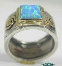 New 9k Yellow Gold & Sterling Silver Opal Ring