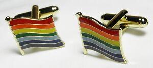 Rainbow Flag LGBT Cuff Links Pride Lesbian Gay Cufflinks