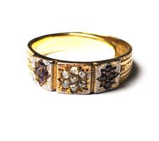 18k Yellow Gold Antique Birmingham circa 1796 Wedding Band Ruby Diamond Ring