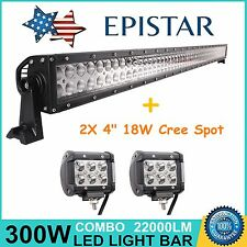 "52"" 300W LED Light Bar Combo Off-road Jeep Truck Lamp+ 2X 4"" 18W Cree Work Lamp"