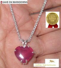 9.60 ct NATURAL RUBY HEART SILVER PENDANT