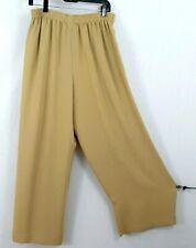 Emanuel Ungaro Women Pants Culottes Capri Beige Elastic Waist Crinkle Party Sz 8