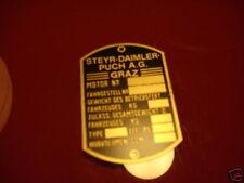 Placa IDENTIFICADORA AUSTRO STEYR PUCH PANEL ABOLLADURAS de identificación