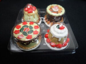 2004 Interior Accents Bakery Collection Cake Shaped Candles Set of (4) 3 1/2 Hrs