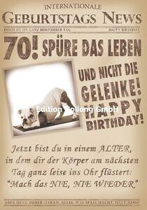 Geburtstagskarte 70 jahre lustig