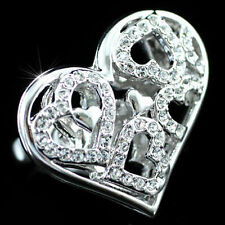 White Gold Love & Hearts Costume Rings